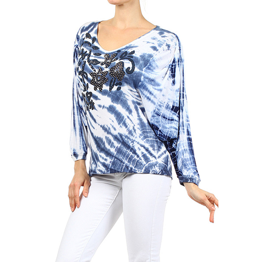 Women's Tie Dye Print V-Neck Top #11783 - IDI Clothing - Where you can buy directly for the designer manufacturer-Made In USA :)