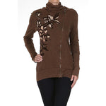 Women's Print Mock Neck Zip up Sweater  #11790
