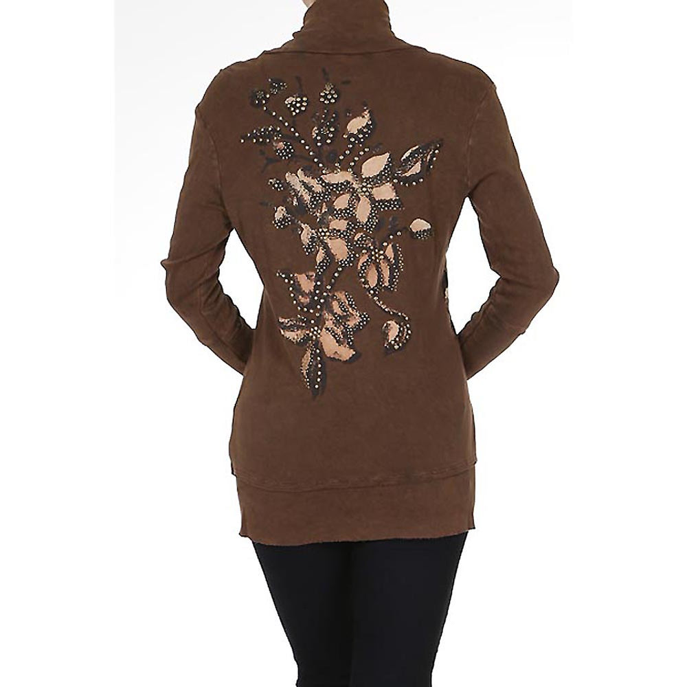 Women's Print Mock Neck Zip up Sweater  #11790 - IDI Clothing - Where you can buy directly for the designer manufacturer-Made In USA :)