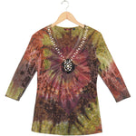 Women's Embellished Tie Dye Vintage Print 3/4 Sleeve Top #11795 - IDI Clothing - Where you can buy directly for the designer manufacturer-Made In USA :)