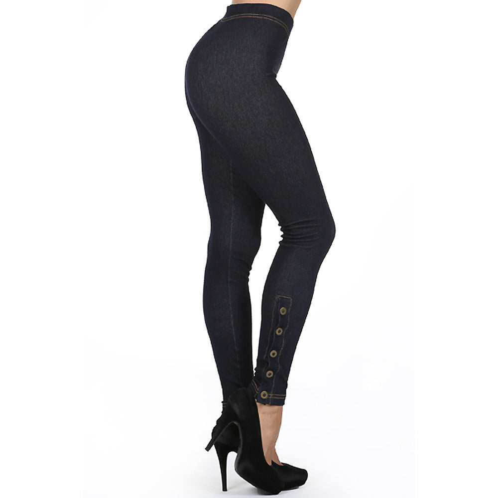 Women's Side Button stretch  Leggings #11807 Made In USA - IDI Clothing - Where you can buy directly for the designer manufacturer-Made In USA :)