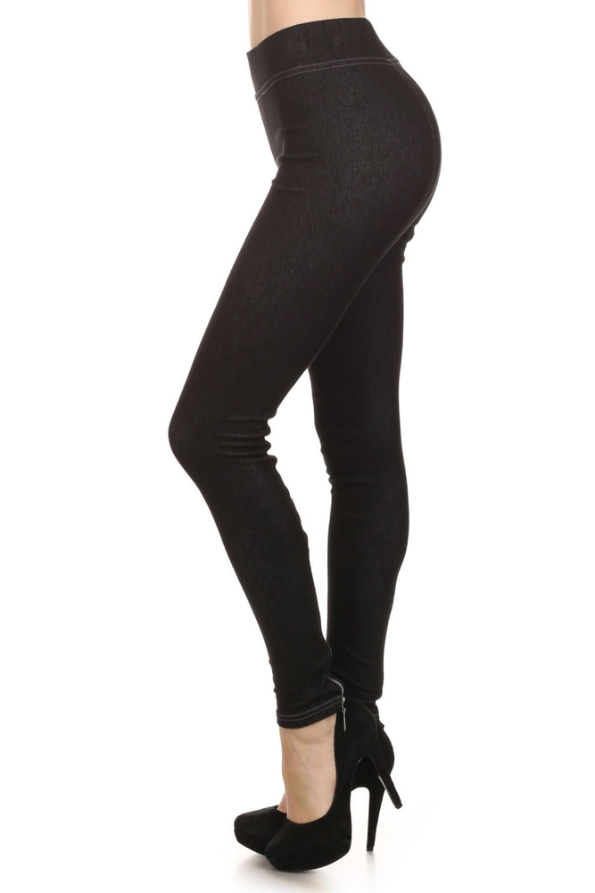 Women's Knit Denim Legging with Zipper Detail #11808 - IDI Clothing - Where you can buy directly for the designer manufacturer-Made In USA :)