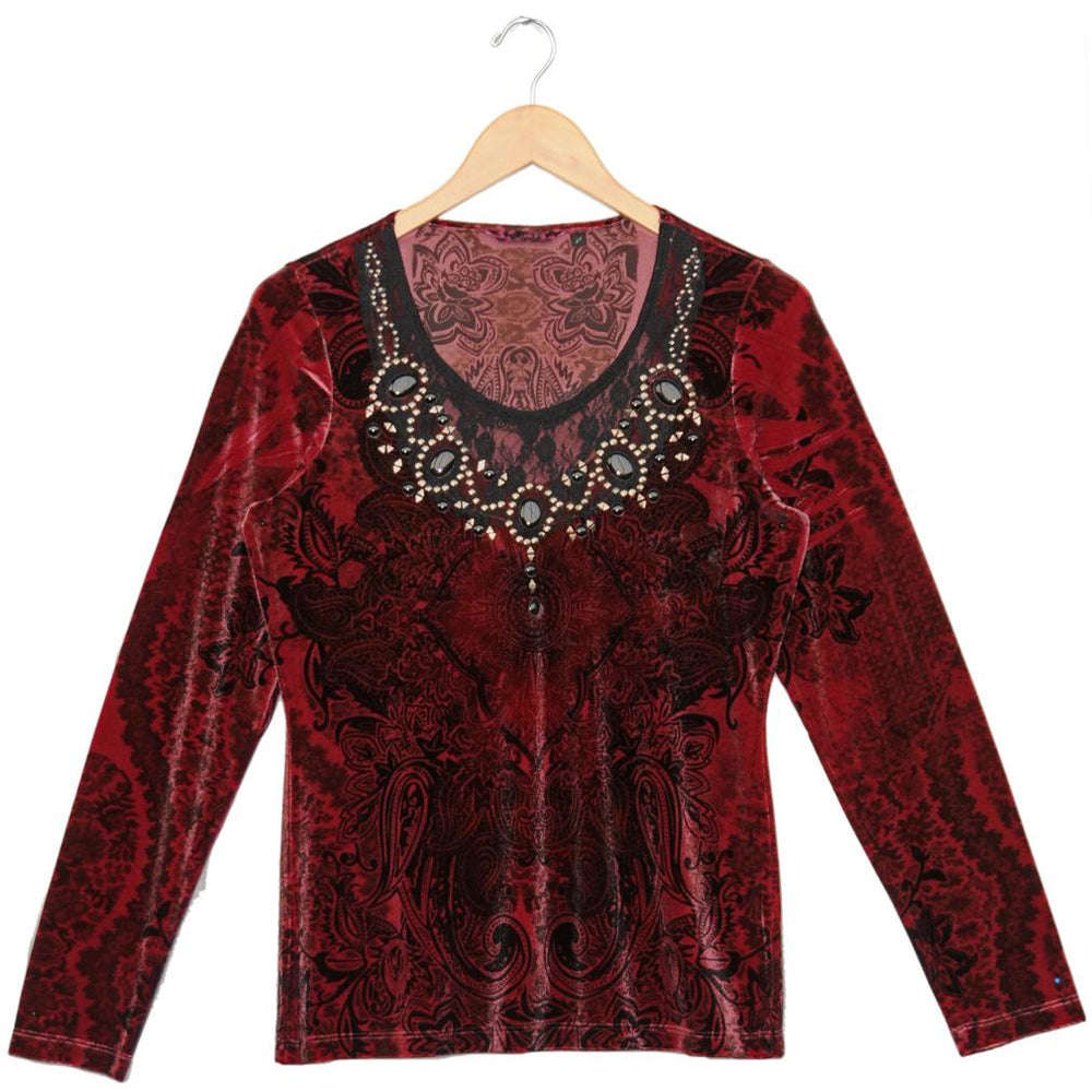 Women's Long Sleeve Scoop Neck Top with Embellishment #11848 - IDI Clothing - Where you can buy directly for the designer manufacturer-Made In USA :)
