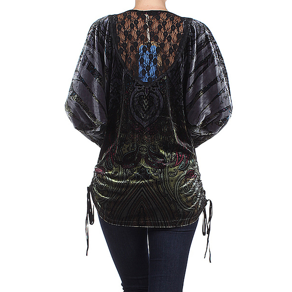 Women's Embellished 3/4 Sleeve Top #11849 - IDI Clothing - Where you can buy directly for the designer manufacturer-Made In USA :)