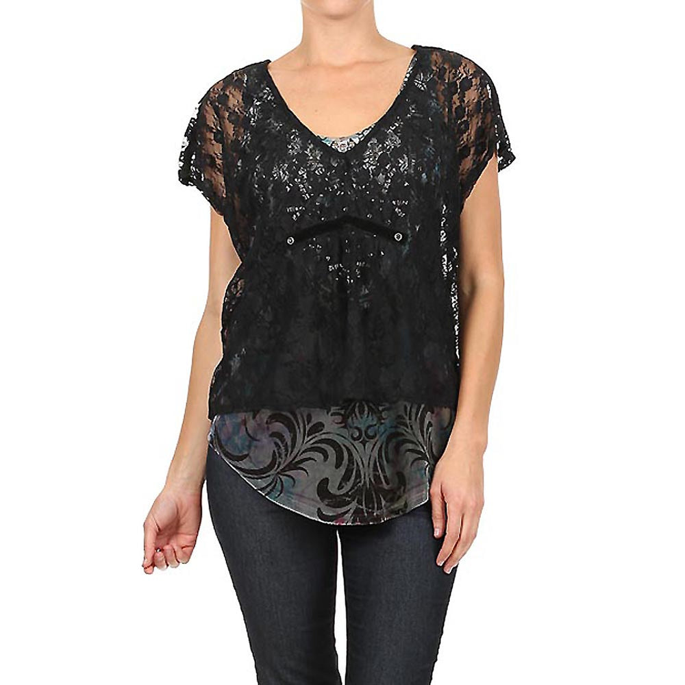 Women's Embellished V-Neck Layered Lace Tank #11850