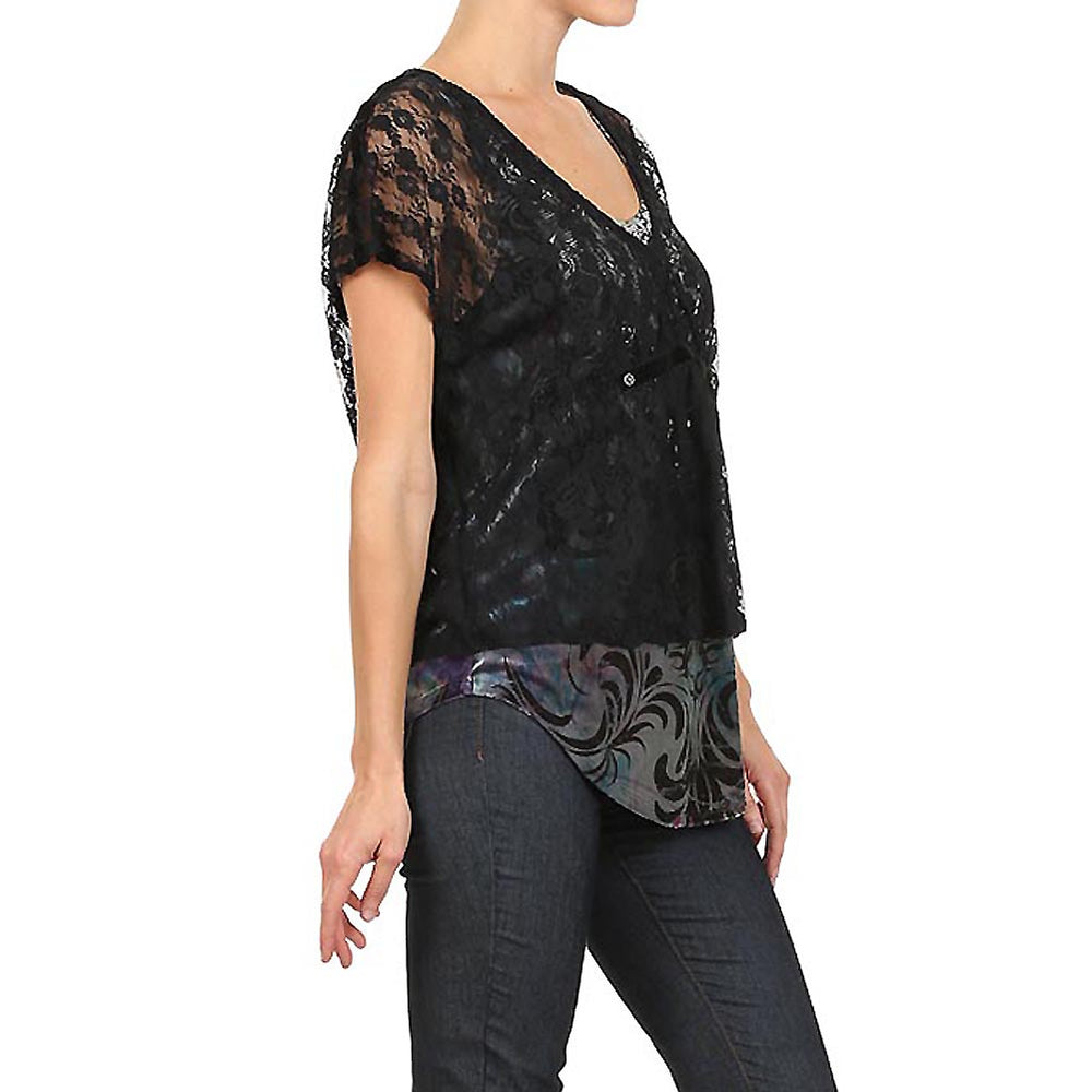 Women's Embellished V-Neck Layered Lace Tank #11850 - IDI Clothing - Where you can buy directly for the designer manufacturer-Made In USA :)