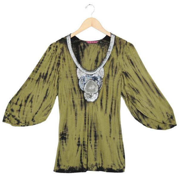 Women's Tie Dye Puff Sleeve Sequin Top #11854 - IDI Clothing - Where you can buy directly for the designer manufacturer-Made In USA :)