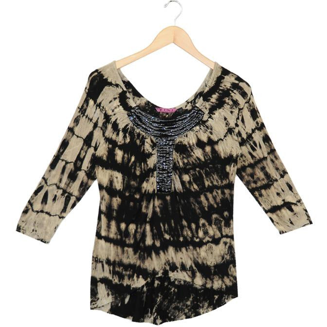 Women's 3/4 Sleeve Embellished Top #11855 - IDI Clothing - Where you can buy directly for the designer manufacturer-Made In USA :)