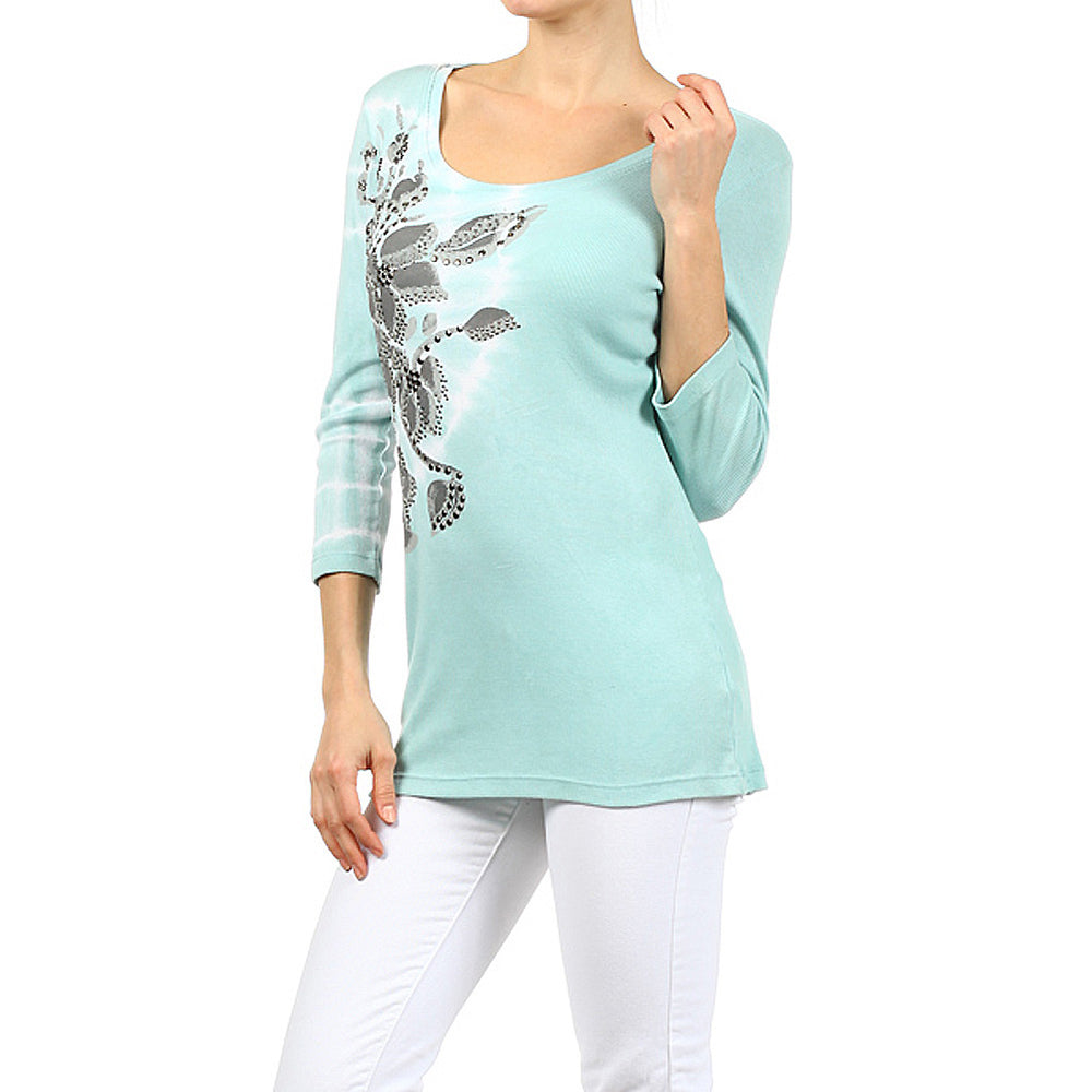 Women's Scoop Neck 3/4 Sleeve Top #12050 Made In USA - IDI Clothing - Where you can buy directly for the designer manufacturer-Made In USA :)