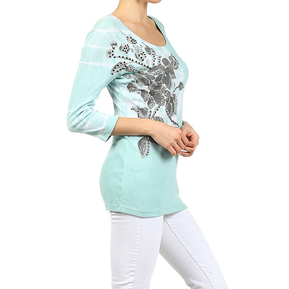 Women's Scoop Neck 3/4 Sleeve Top #12050 Made In USA