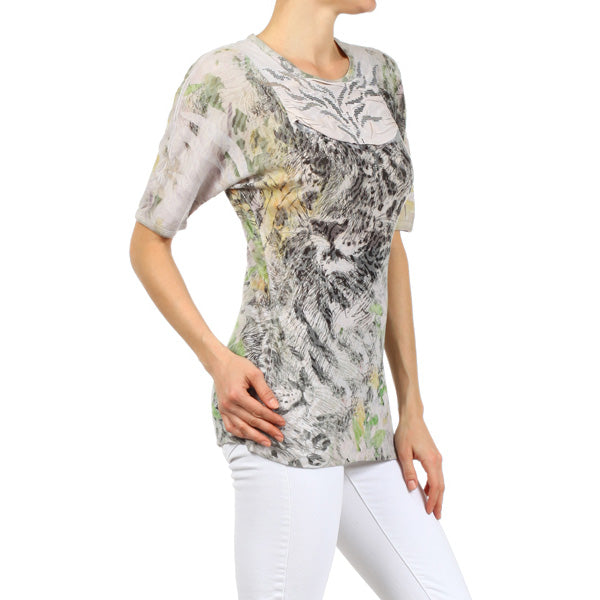 Women's Embellished Animal Print Top #12056 Made In USA - IDI Clothing - Where you can buy directly for the designer manufacturer-Made In USA :)