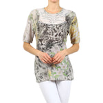 Women's Embellished Animal Print Top #12056 Made In USA