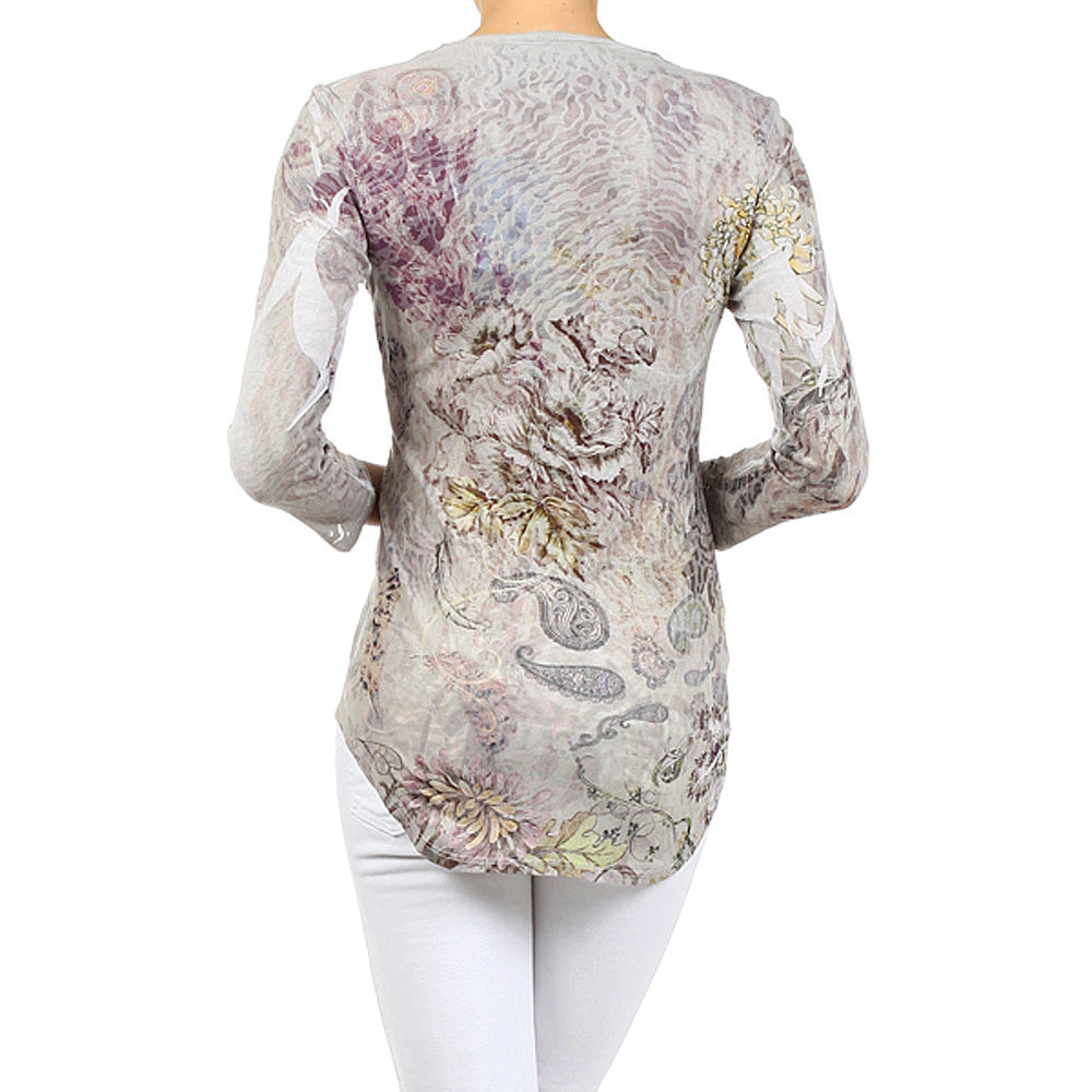 Women's Print Embellished Knit 3/4 Sleeve V-Neck Top #12058 - IDI Clothing - Where you can buy directly for the designer manufacturer-Made In USA :)