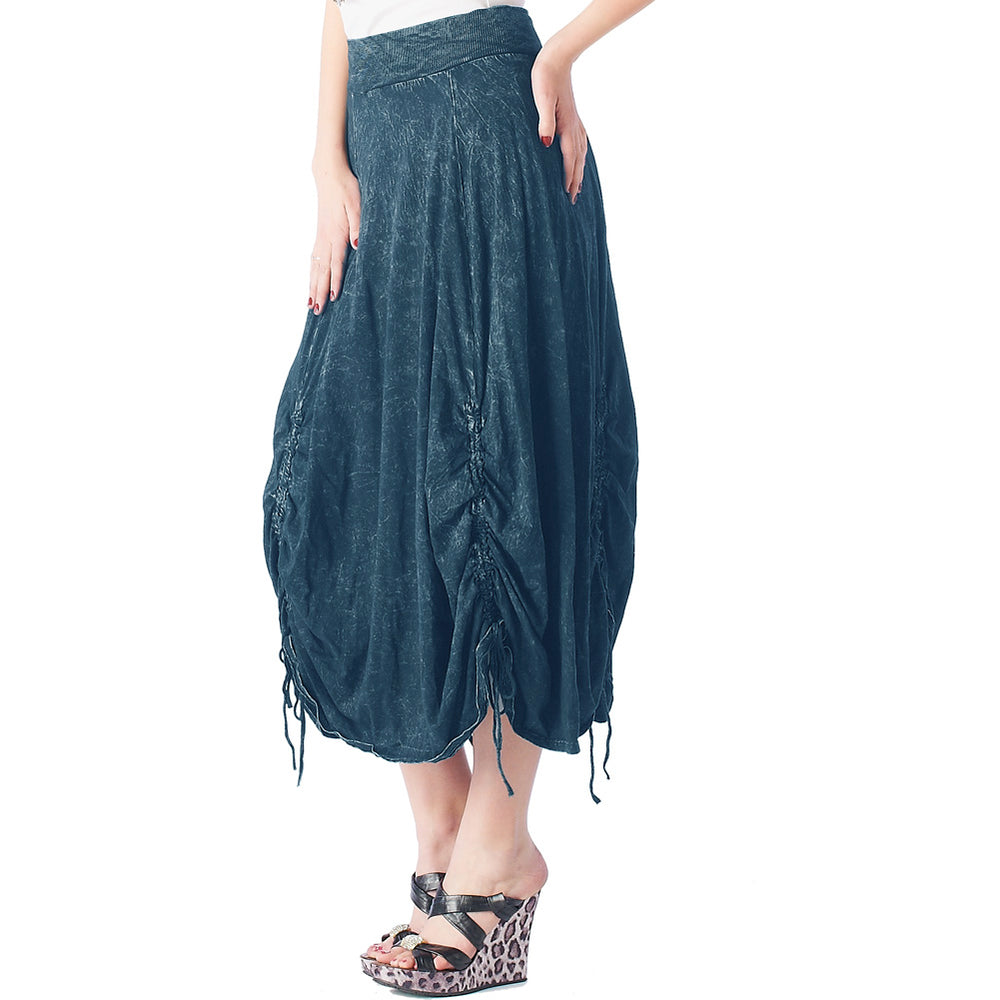 Fashion Skirt Pigment Dye  Parachute 100% cotton  #12074PD Dark Blue - IDI Clothing - Where you can buy directly for the designer manufacturer-Made In USA :)
