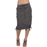 Women's Knee High Cargo Skirt #12083 Coffee Brown Made In USA