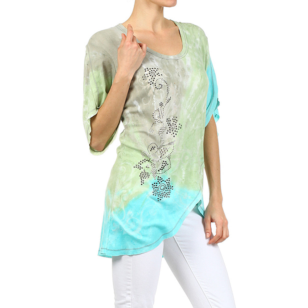 Women's Tie Dye Round Neck Top #12158 - IDI Clothing - Where you can buy directly for the designer manufacturer-Made In USA :)