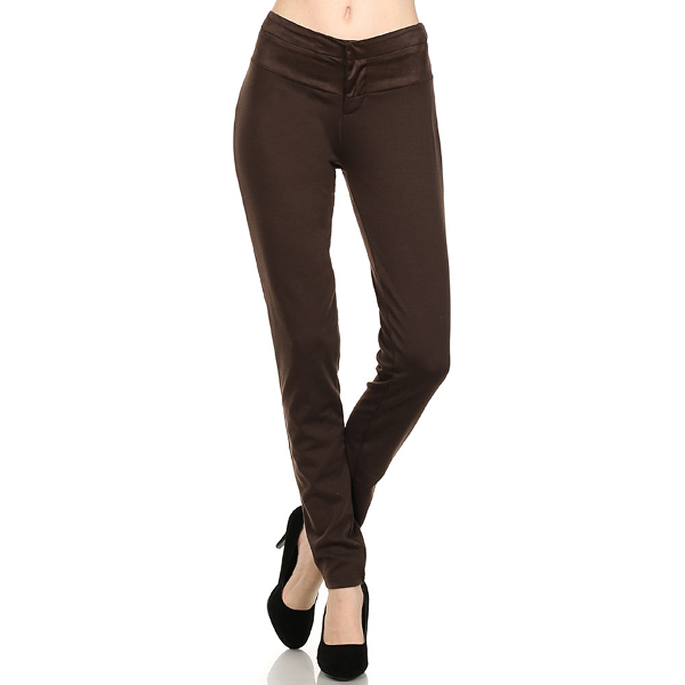 Women's Stretch Ponte Roma  Brown Pant mix with Suede fabric #12628