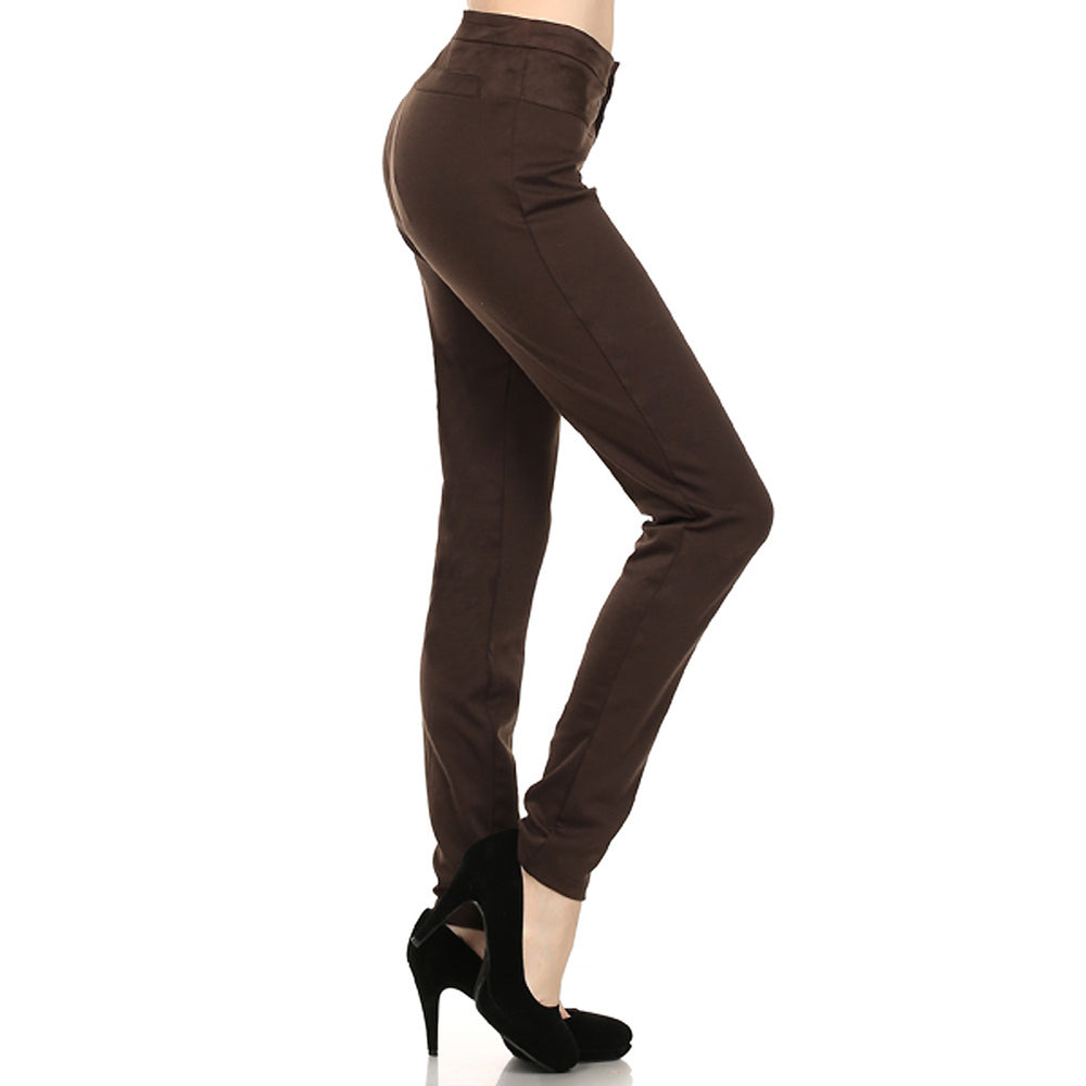 Women's Stretch Spandex Ponte Roma  Brown Pant mix with Suede fabric #12627 - IDI Clothing - Where you can buy directly for the designer manufacturer-Made In USA :)