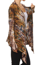 Women's Tie Dye Front Drape Cardigan #12719 - IDI Clothing - Where you can buy directly for the designer manufacturer-Made In USA :)