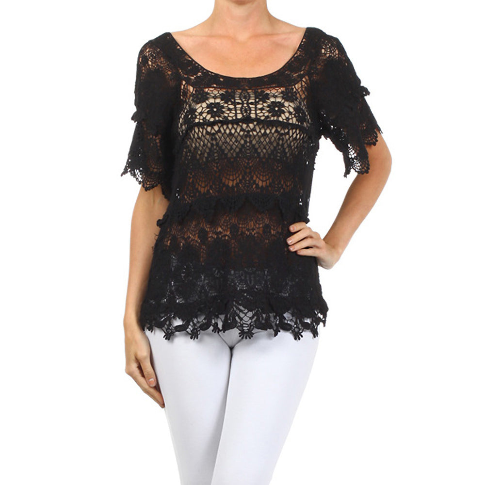 Women's Crochet Short Sleeve Top #12947