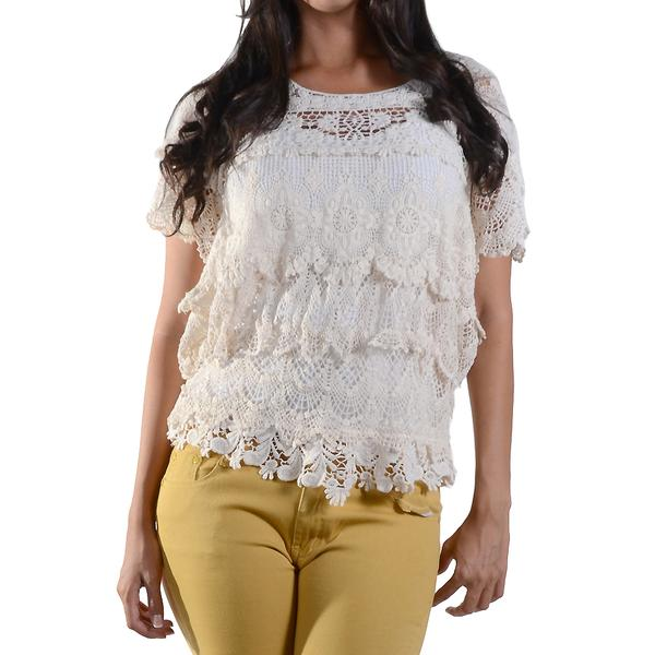Lace Crochet Short Sleeve Top Ruffles #12947
