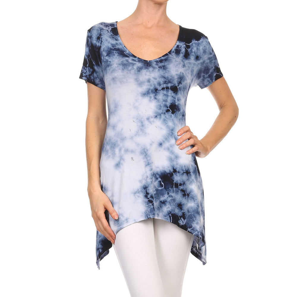 Women's Sharkbite V-Neck Short Sleeve Top #13011 EV-NavyWhite - IDI Clothing - Where you can buy directly for the designer manufacturer-Made In USA :)