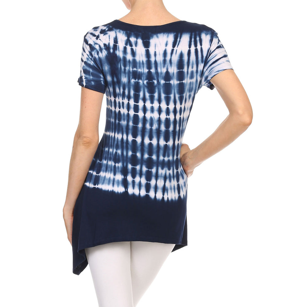 Women's Sharkbite V-Neck Short Sleeve Top #13011 HS-NavyWhite - IDI Clothing - Where you can buy directly for the designer manufacturer-Made In USA :)