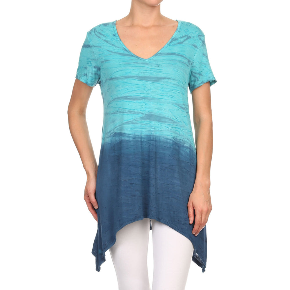 Women's Sharkbite V-Neck Short Sleeve Top  #13011 NHC-JadeNavy - IDI Clothing - Where you can buy directly for the designer manufacturer-Made In USA :)
