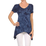 Women's Sharkbite V-Neck Short Sleeve Top #13011 XRW-Navy - IDI Clothing - Where you can buy directly for the designer manufacturer-Made In USA :)