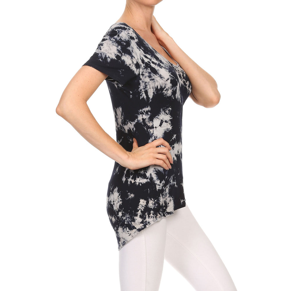 Women's High-Low V-Neck Short Sleeve Top #13013 GWF-NavyWhite Made In USA - IDI Clothing - Where you can buy directly for the designer manufacturer-Made In USA :)