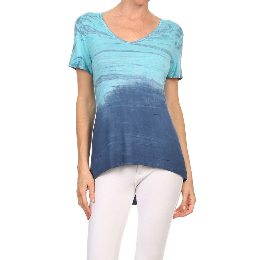 Women's High-Low V-Neck Short Sleeve Top #13013 NHC-JadeNavy
