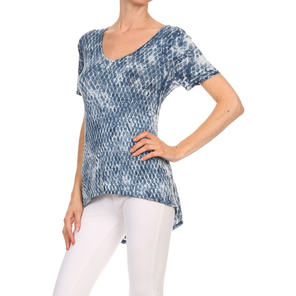Women's High-Low V-Neck Short Sleeve Top #13013 PTD-Indigo - IDI Clothing - Where you can buy directly for the designer manufacturer-Made In USA :)