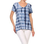 Women's High-Low V-Neck Short Sleeve Top #13013 TBD-NavyCombo - IDI Clothing - Where you can buy directly for the designer manufacturer-Made In USA :)