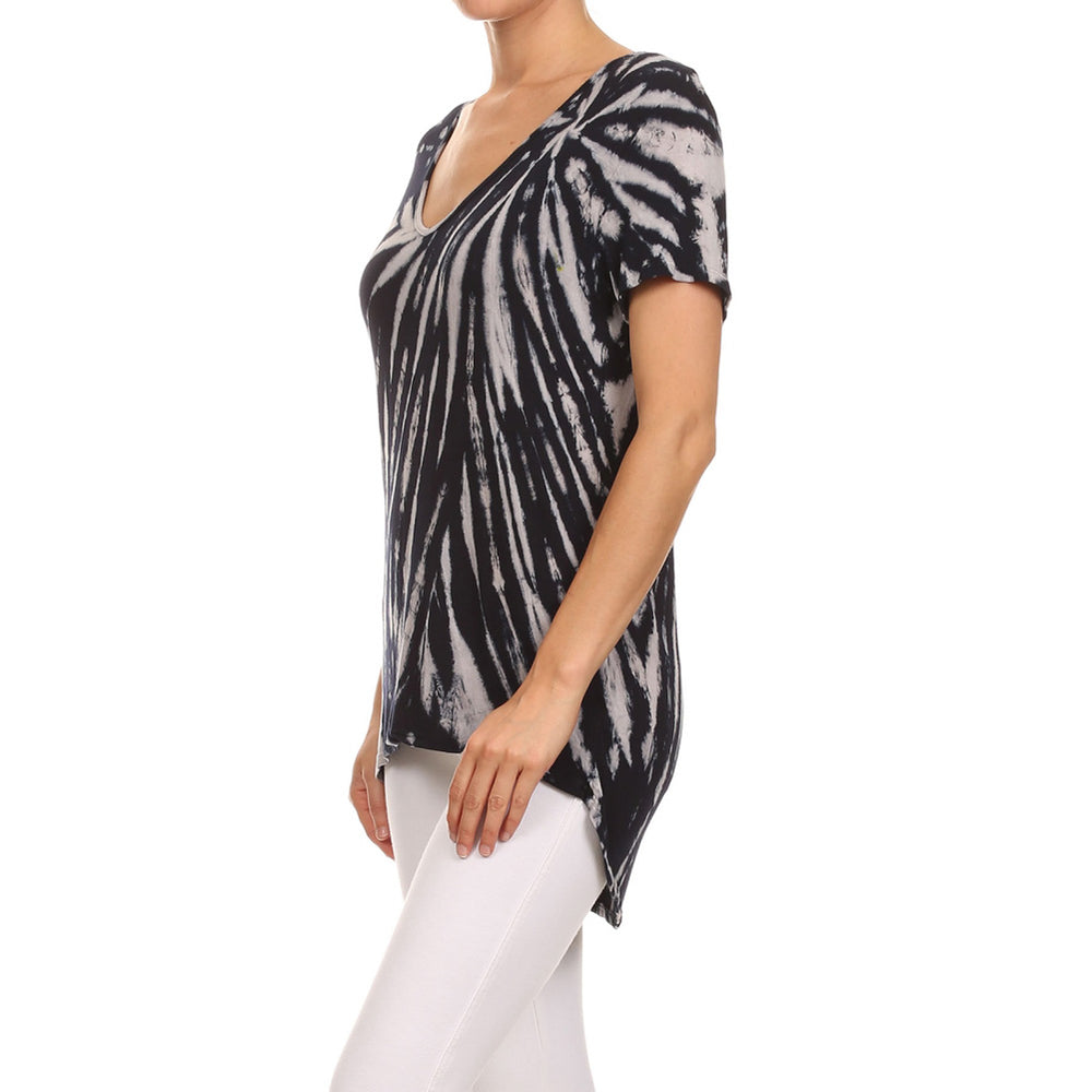 Women's High-Low V-Neck Short Sleeve Top #13013 VA-NavyWhite - IDI Clothing - Where you can buy directly for the designer manufacturer-Made In USA :)