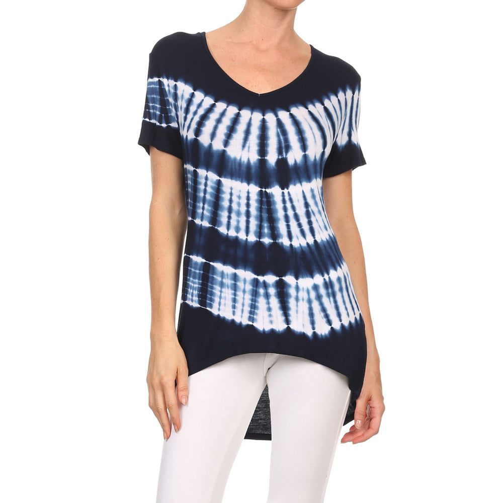 Women's High-Low V-Neck Short Sleeve Top #13013 VS-NavyWhite - IDI Clothing - Where you can buy directly for the designer manufacturer-Made In USA :)