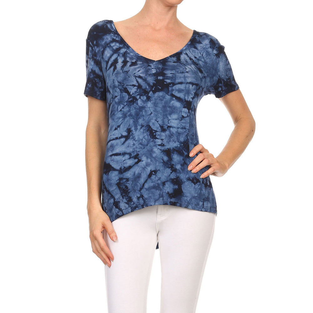 Women's High-Low V-Neck Short Sleeve Top #13013 XRW-Navy - IDI Clothing - Where you can buy directly for the designer manufacturer-Made In USA :)