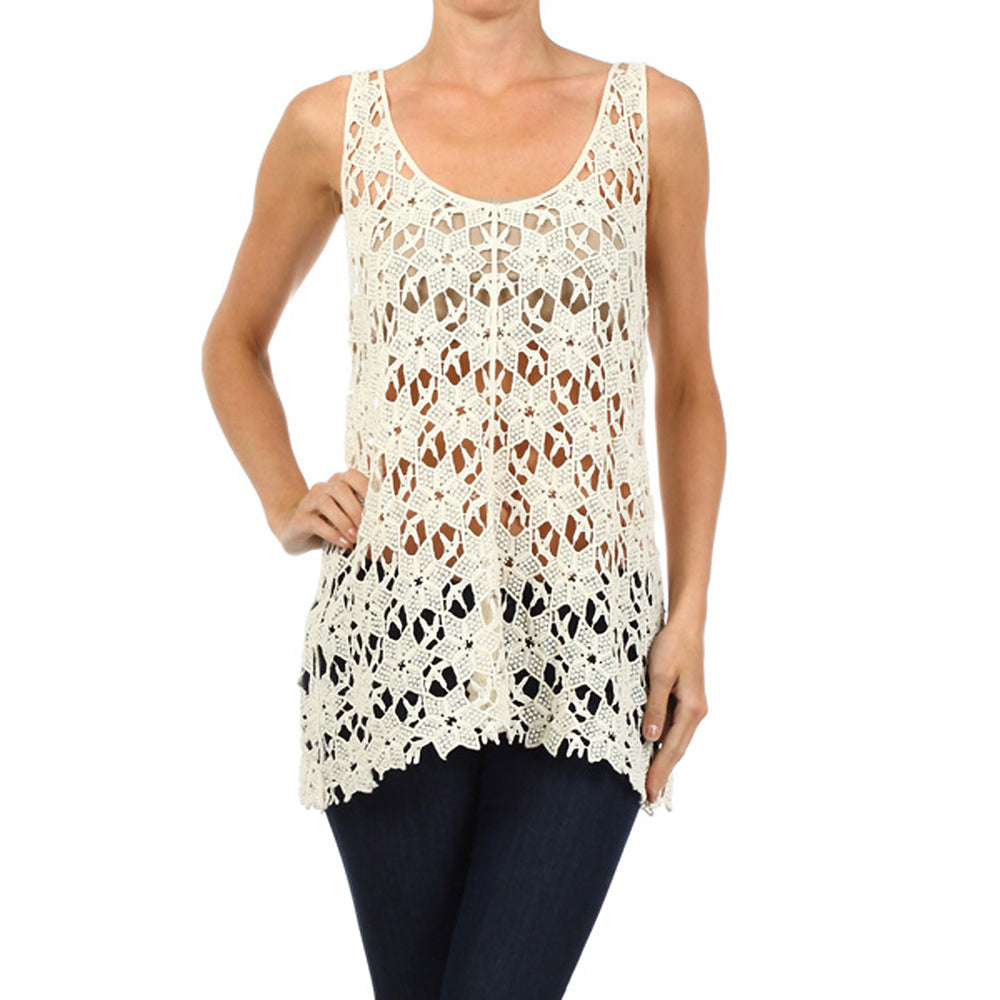 Lace Crochet Sleeveless Top #13037