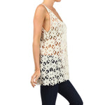 Lace Crochet Sleeveless Top #13037 - IDI Clothing - Where you can buy directly for the designer manufacturer-Made In USA :)