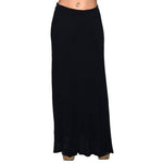 Lined Maxi Skirt Drapey 95% Rayon 5%Spandex Made In USA #13048 Black