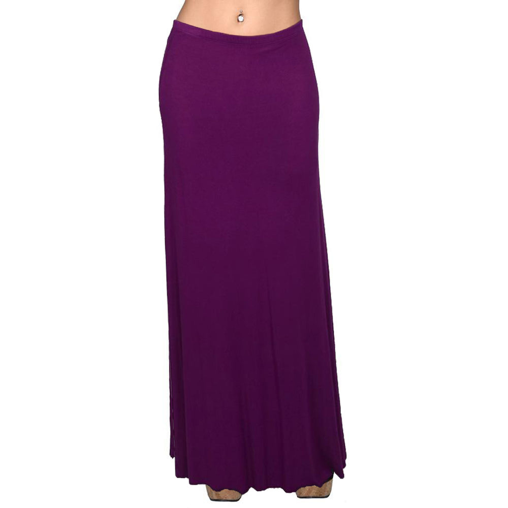 Lined Maxi Skirt Drapey 95% Rayon 5%Spandex Made In USA #13048 Purple