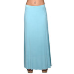 Lined Maxi Skirt Drapey 95% Rayon 5%Spandex Made In USA #13048 Nile Blue