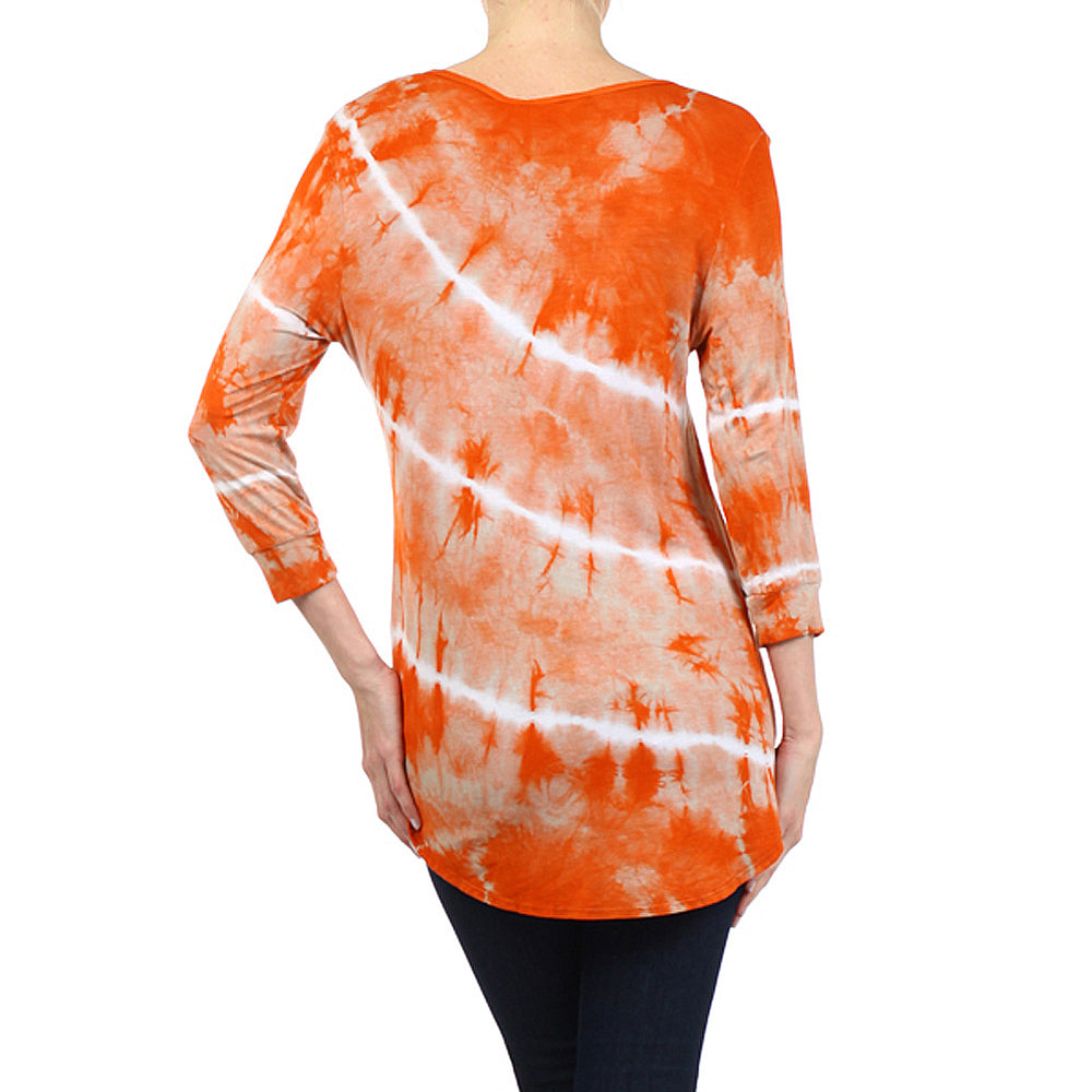 Women's Tie Dye High-Low V-Neck Top #13143 - IDI Clothing - Where you can buy directly for the designer manufacturer-Made In USA :)