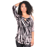 Ladies Scoop Neck Cold Shoulder Tie Dye Tank - Black Pink