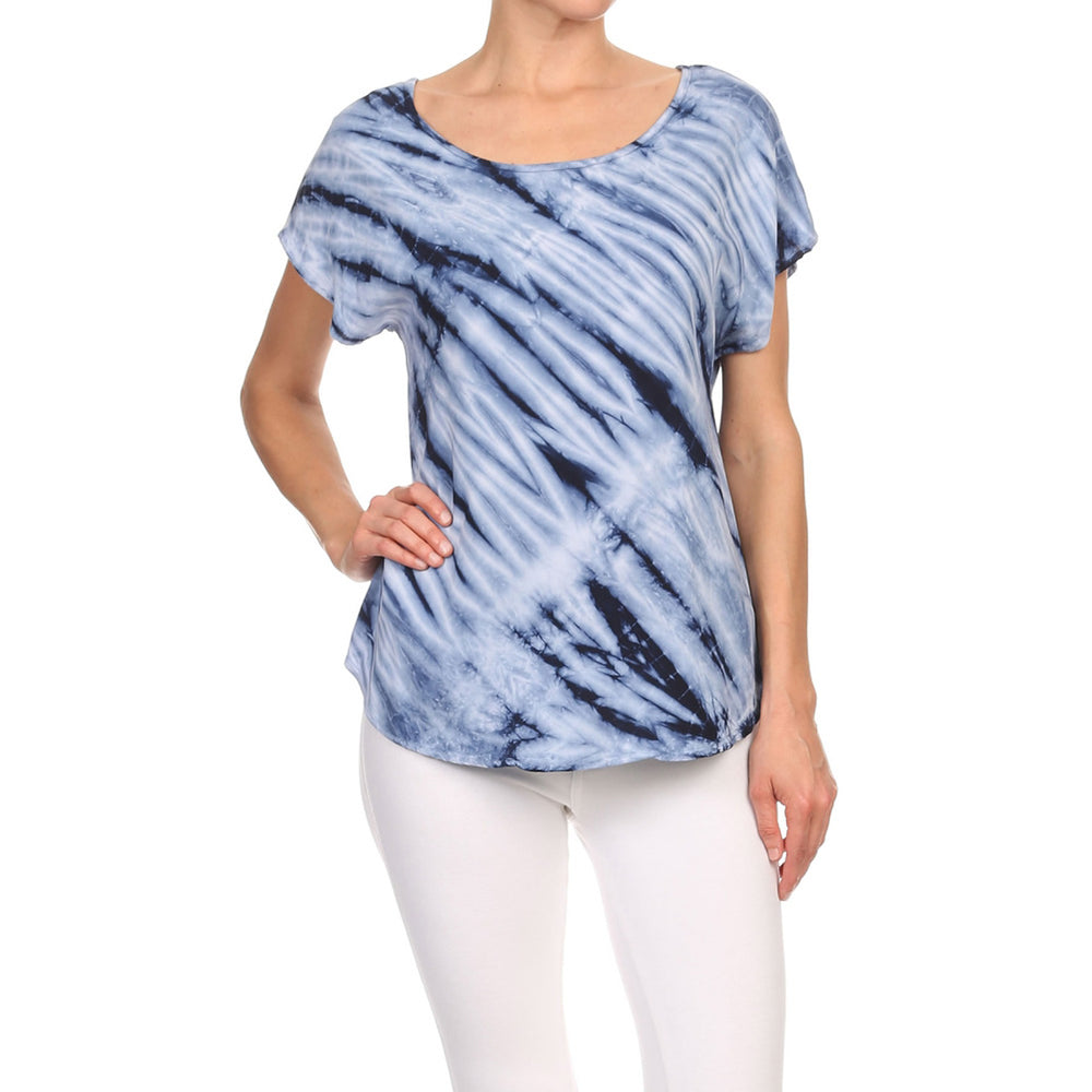 Women's High-Low Short Sleeve Woven Top #14058 CS Made In USA