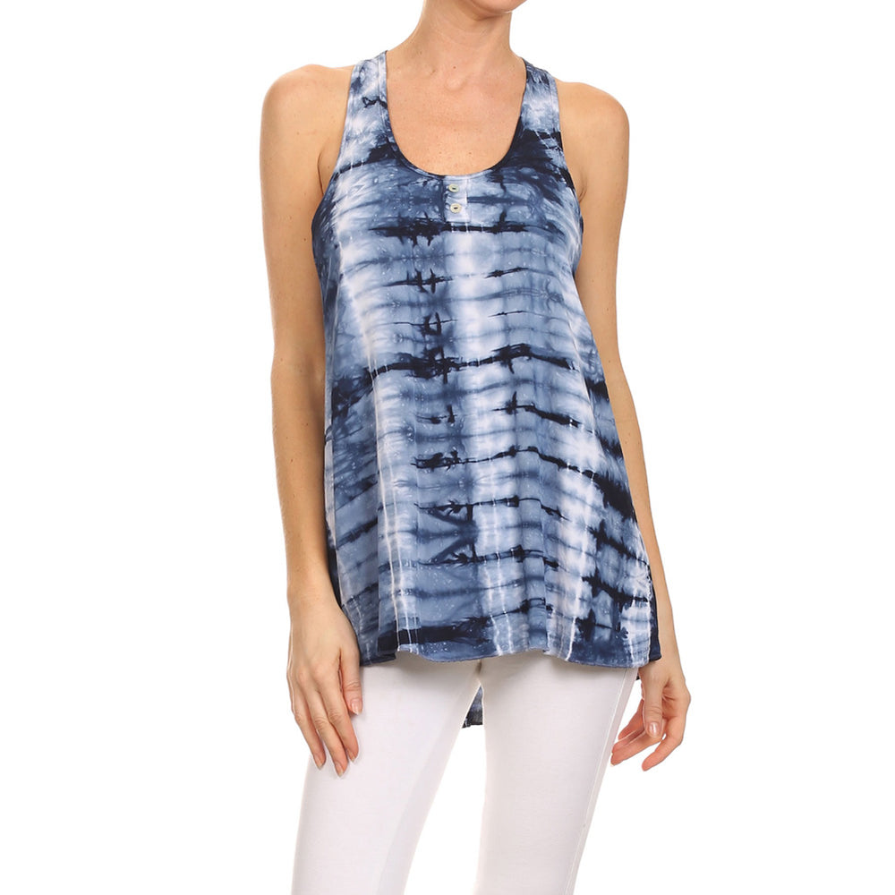 Women's Tie Dye High-Low Woven Henley Tank Top #14059