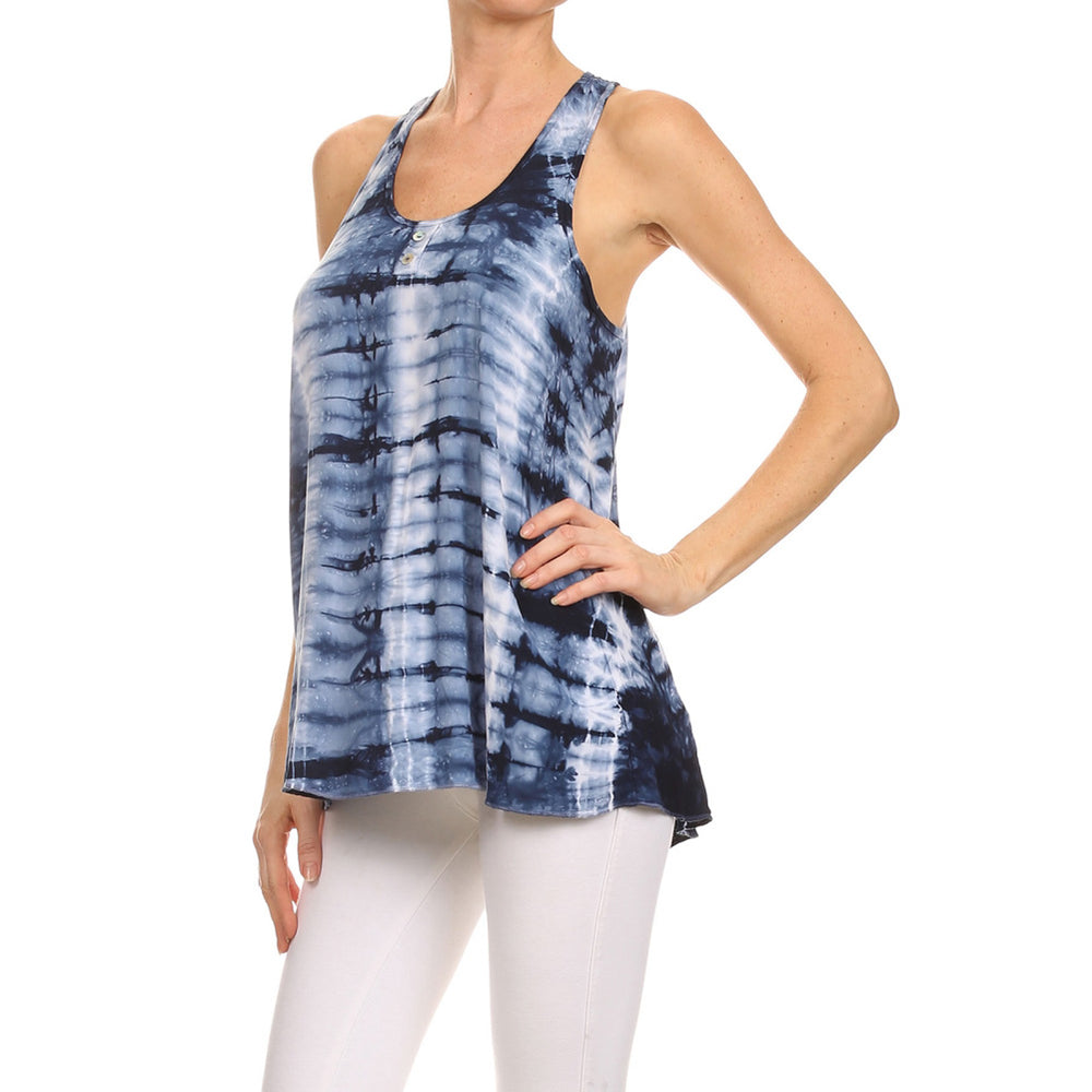 Women's Tie Dye High-Low Woven Henley Tank Top #14059 - IDI Clothing - Where you can buy directly for the designer manufacturer-Made In USA :)