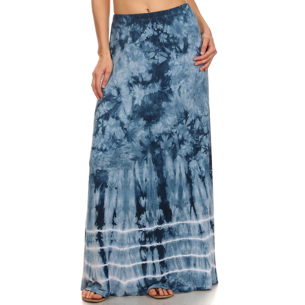Maxi Tie Dye A-Line Skirt #14072BHS Blue Made In USA