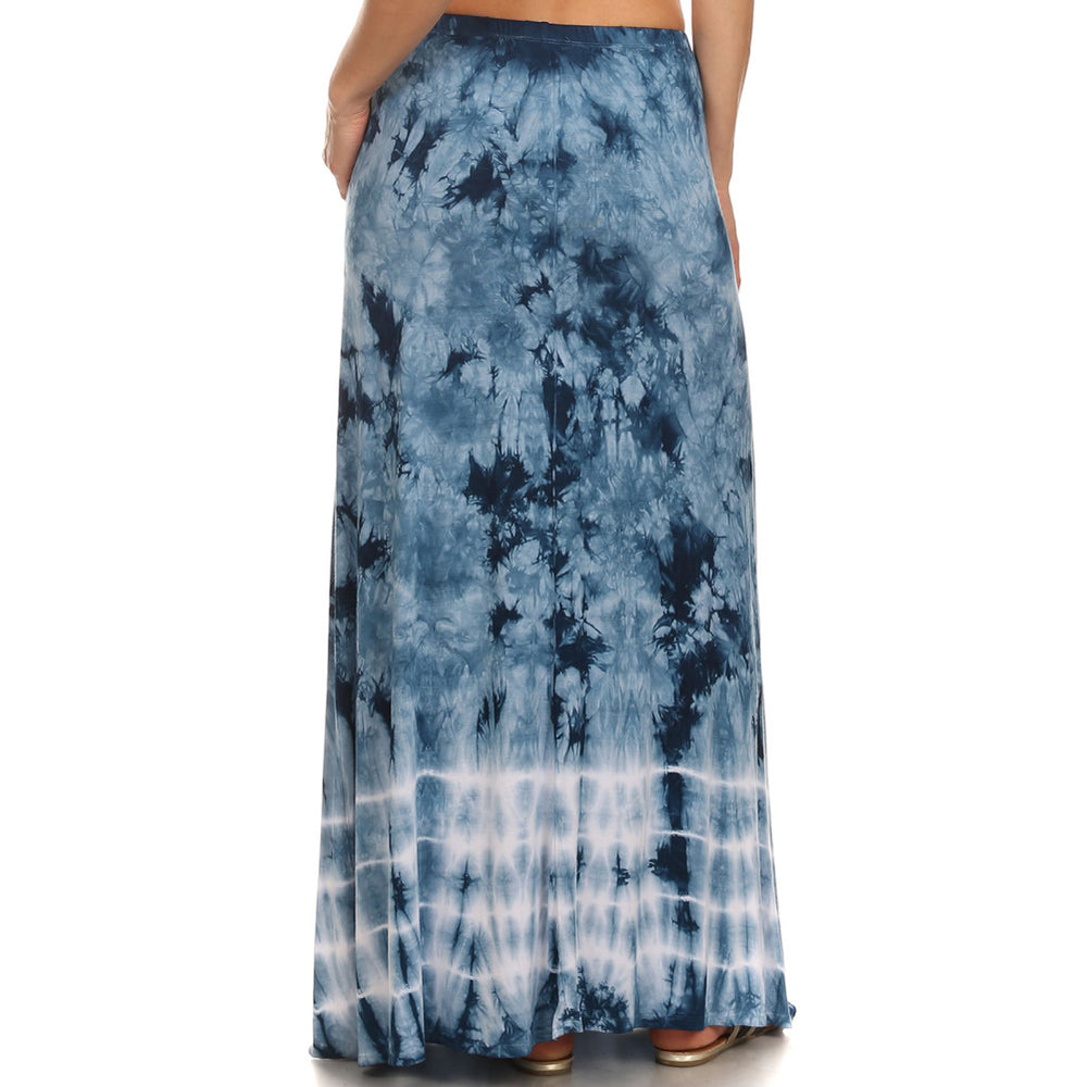 Maxi Tie Dye A-Line Skirt #14072BHS Blue Made In USA - IDI Clothing - Where you can buy directly for the designer manufacturer-Made In USA :)
