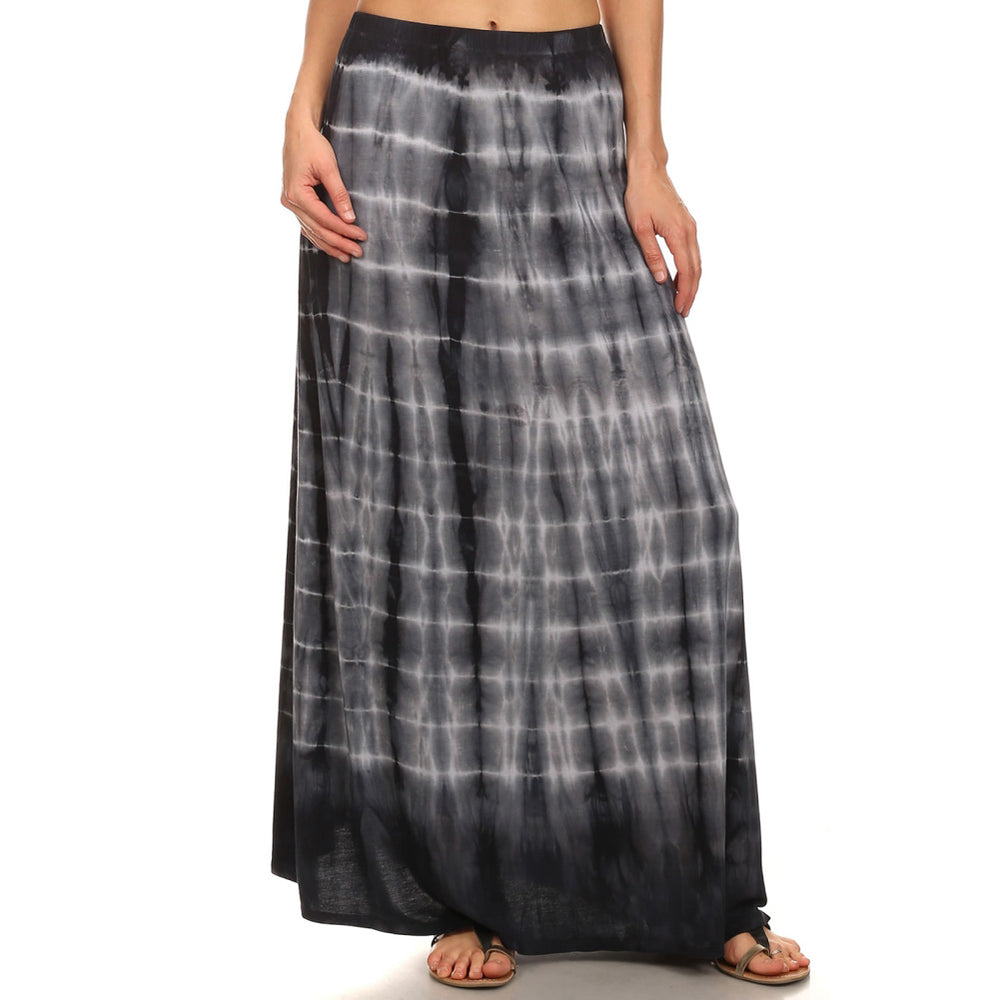 Maxi Tie Dye A-Line Skirt  #14072HS Black White Made In USA - IDI Clothing - Where you can buy directly for the designer manufacturer-Made In USA :)