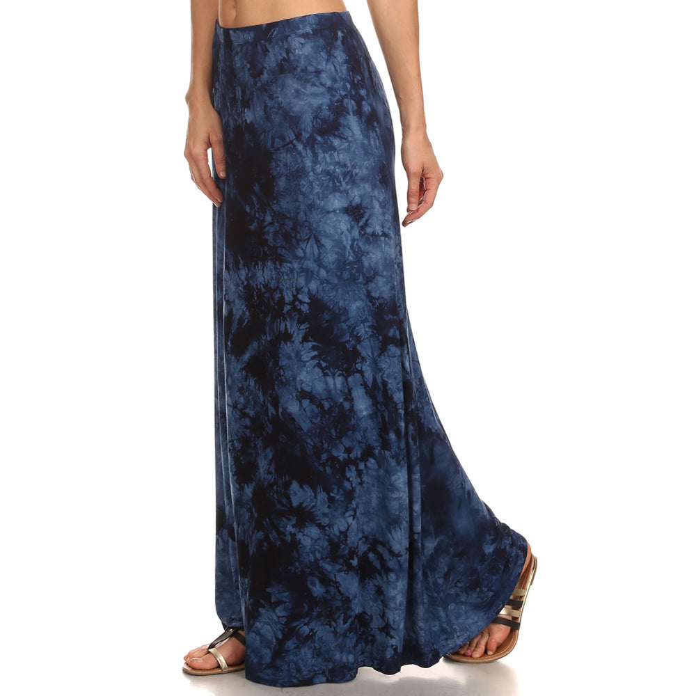 Ladies Maxi Tie Dye A-Line Skirt - Dark & Light Blue